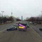 Unser mobiler LED Video Cube mit 36 m² umlaufender Videoanlage auf Stage-Trailer im Dezember 2015 am Alexanderplatz in Berlin!