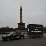 Unser mobiler LED Video Cube mit 36 m² umlaufender Videoanlage auf Stage-Trailer im Dezember 2015 an der Siegessäule in Berlin!